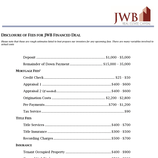 Disclosure of Fees for JWB Financed Deal