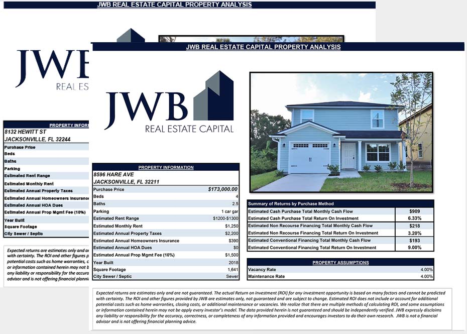 JWB Property Evaluation & Passive Income Information Kit