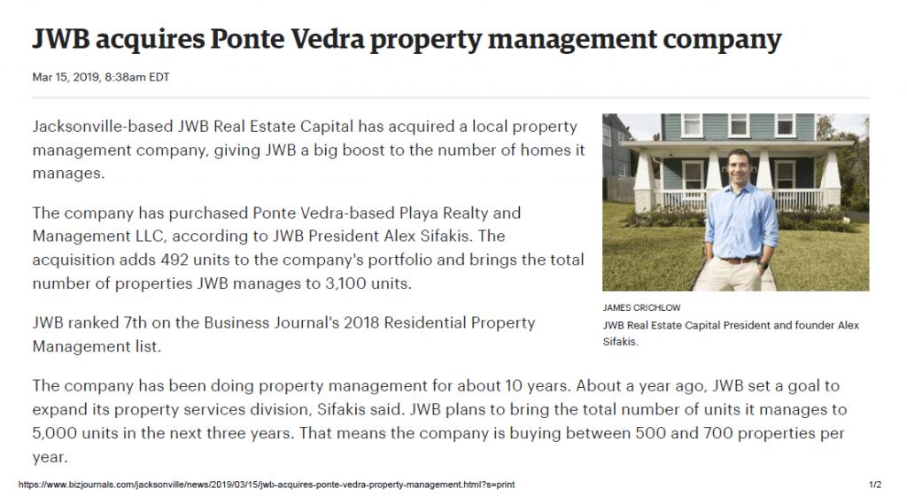 JWB Acquires Playa Property Management |