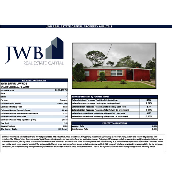 JWB Property Evaluation – 10524 Briarcliff Rd S, Jacksonville, FL 32218