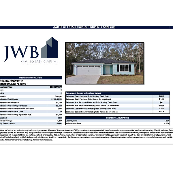 JWB Property Evaluation – 2562 Red Robin Dr W, Jacksonville, FL 32210