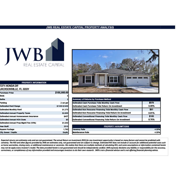JWB Property Evaluation – 7271 Honda Dr. Jacksonville, FL 32221