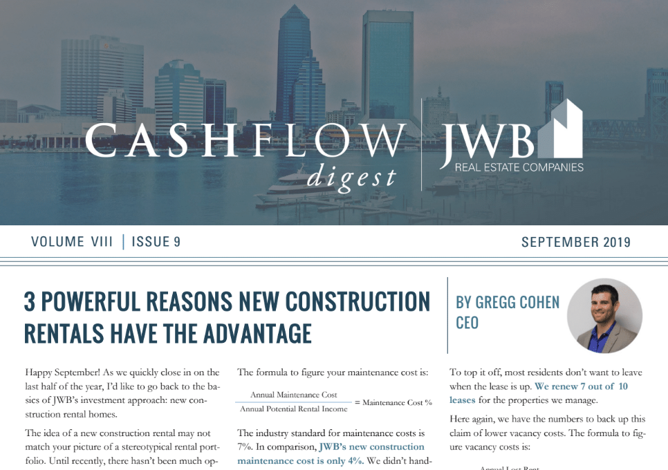 JWB Real Estate Newsletter - 3 Reasons New Construction Rentals Have the Advantage