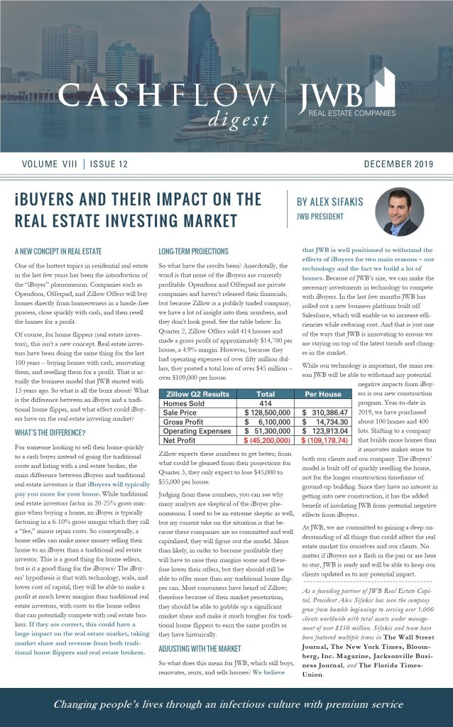 Alex Sifakis explains iBuyers and how they affect the real estate market. JWB Real Estate Capital Cash Flow Digest December 2019