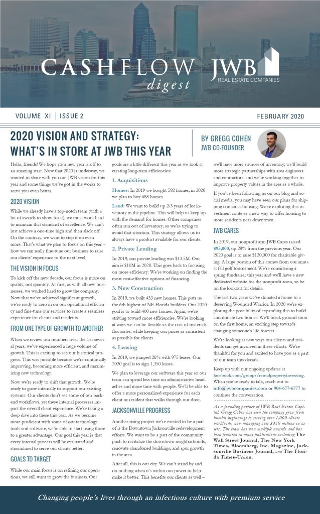 JWB Real Estate - Vision for 2020